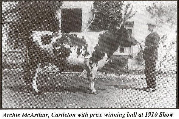 Archie McArthur, Castleton with prize winning Bull at the 1910 Show